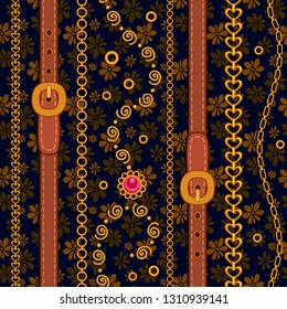 Seamless pattern with gold jewelry, chains and decorative ornaments.  Vector pattern for printing on fabric, clothes, shawl, headscarf, dress, shirt, patchwork, quilting.