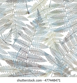 Seamless pattern with gold leaf, autumn fern leaves background. Vector illustration.