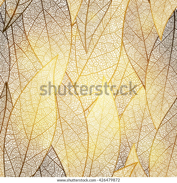 Seamless pattern with gold leaf, autumn leaves background. Vector, EPS10.