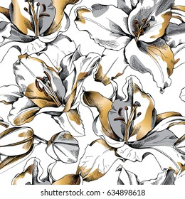 Seamless pattern with gold Lily flowers. Vector illustration.
