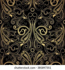 Seamless pattern with gold paisley. Floral background c oriental motifs. Vector illustration