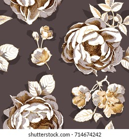 Seamless pattern with a gold Peony and Cherry flowers and leaves on a dark background. Vector illustration.