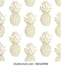 Seamless pattern. Gold pineapple background. Vector illustration.
