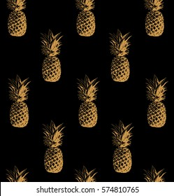 Seamless pattern. Gold pineapple background. Vector illustration. Perfect for invitations, greeting cards, wrapping paper, posters, fabric print.