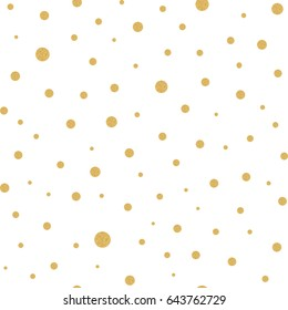 Seamless pattern with gold polka dots texture on white in vector. Simple design for package, wallpaper, cover, template, background.