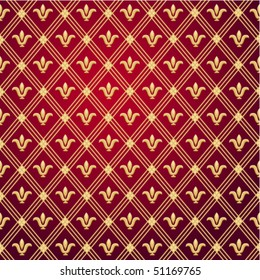 Seamless pattern of gold royal lilies on a dark red background