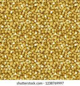 Seamless pattern of gold sequins. Background of shining sequins. Eps10