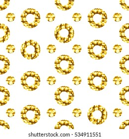 Seamless pattern with gold shine glitter dots on white background. For wrap, wallpapers, backgrounds and scrapbooks. Art vector illustration