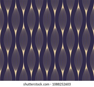 Seamless pattern of gold sinus waves on a dark background, eps10 vector