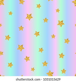 Seamless pattern with gold stars on holographic background. Vector illustration