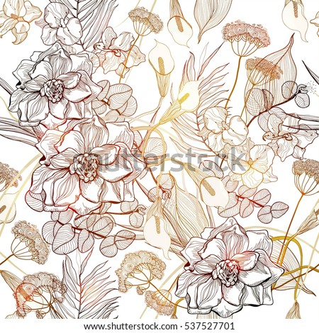 Seamless pattern with gold tropical flowers background. Vector abstract art illustration