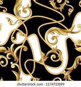 Seamless pattern  with golden baroque elements.