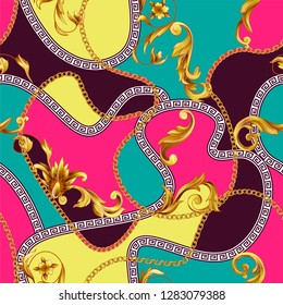 Seamless pattern with golden baroque elements and vivid backround.