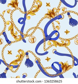 Seamless pattern with golden baroque elements, chain and belts.
