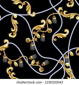 Seamless pattern with golden baroque and knotting elements.