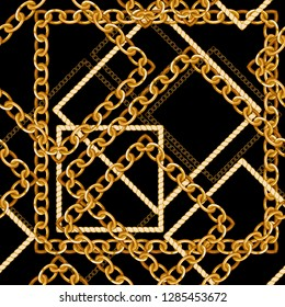 Seamless pattern with golden chains.