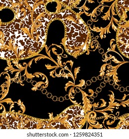 Seamless pattern with golden chains and baroque leaves. Vector spotted patch for scarfs, print, fabric.