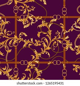 Seamless pattern with golden chains, belts and baroque leaves. Vector baroque patch for scarfs, print, fabric.