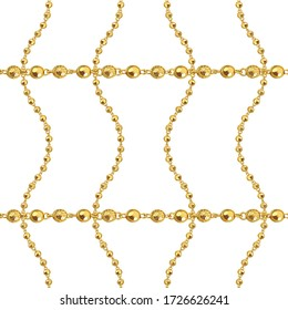 Seamless pattern of golden chains on white background. Repeat design ready for decor, fabric, prints, textile.