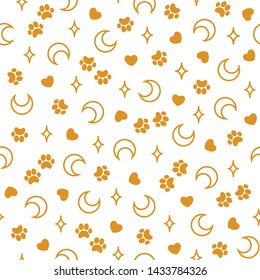 Seamless pattern with golden contours of moons and stars, golden paws and hearts on a white background. Boho print for fabric,wrapping paper,wallpaper,planners,mugs,background for your design