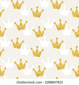 Seamless pattern with golden glittering crowns vector illustration