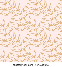 Seamless pattern with golden leaves, branches. Repeating background. Wallpaper, fabric design