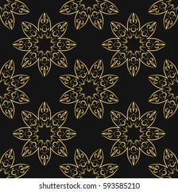Seamless pattern with golden mandalas on black background. Vector background.