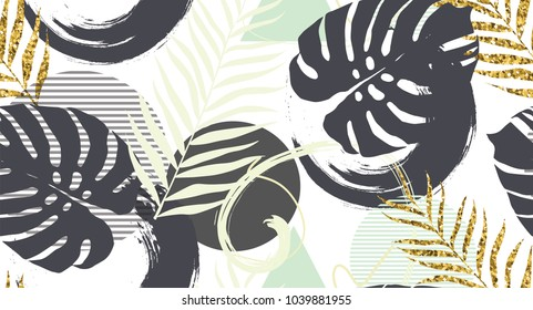 Seamless pattern with  golden palm leaves in vector