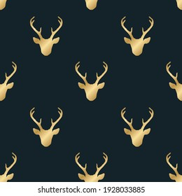 Seamless pattern with golden shiny deer heads silhouettes over black. Trendy vector background. Nature wildlife animal backdrop.