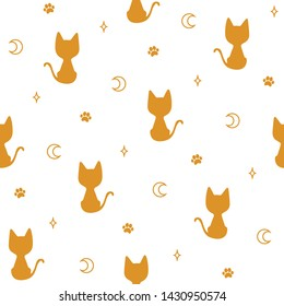 Seamless pattern with golden silhouettes of a kittens, moons, stars and paw prints on a white background. Boho print for fabric,wrapping paper,wallpaper,planners,mugs,background for your design