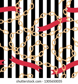 Seamless pattern with golden silver  chain, rope, jewerly, sparkles, pearls for fabric design