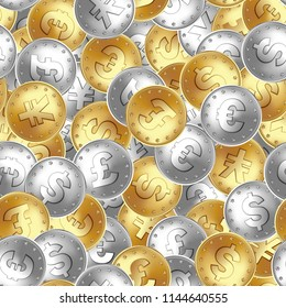Seamless pattern. Golden and silver coin, money. Euro, England Great Britain pound sterling, US american dollar, Japanese yen, Chinese yuan. Money finance symbol for banking. Vector illustration.