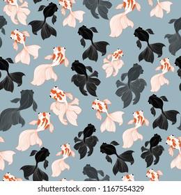 Seamless pattern. goldfish on gray background.