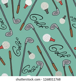 Seamless pattern with golf equipment, hand drawngrunge set. Grey and red illustration with cartoon objects for site header, wallpaper, good for printing.