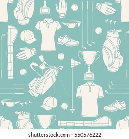 Seamless pattern with golf equipment, hand drawn icons set. Blue and white illustration with cartoon objects. Decorative wallpaper, good for printing. Background design, sport icon