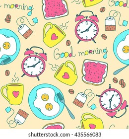 Seamless pattern with good morning colorful objects. Cup, alarm clock, tea bag,  toast with jam and scrambled eggs