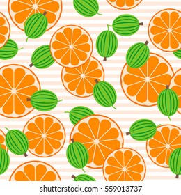 Seamless pattern with gooseberries and oranges. Fruit vector background.
