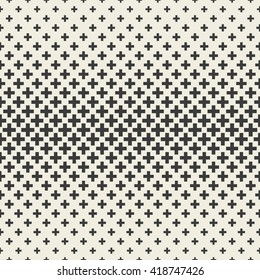 Seamless pattern. Gradient of plus signs. Abstract geometric pattern. Monochrome repeating background. Vector illustration