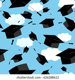 Seamless pattern with graduation hats thrown up in the clouds sky. Vector educate cap illustration