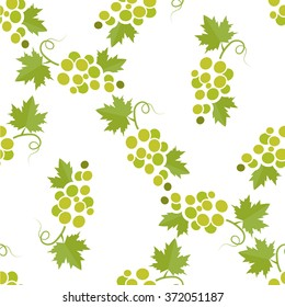 Seamless pattern with grape brunches on white background. Vector illustration.