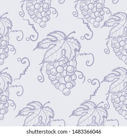 Seamless pattern with grape. Bunches of grapes. Printing on fabric.