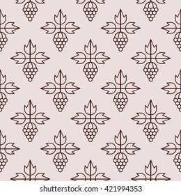 Seamless pattern with grape icon. Winery background. Line style. Vector illustration