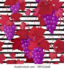 Seamless pattern with grape on strips. Summer background.