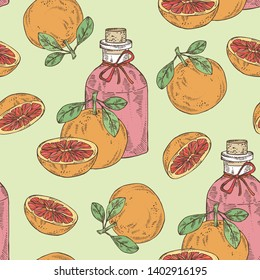 Seamless pattern with grapefruit and bottle of grapefruit essential oil. Cosmetic, perfumery and medical plant. Vector hand drawn