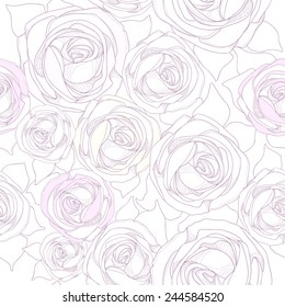 Seamless pattern with graphic illustrations of roses. Delicate flowers on a light background.