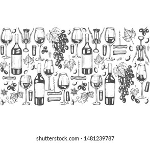Seamless pattern with graphic illustrations of  wine
