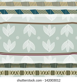 Seamless pattern with graphic images of bamboo and lotus