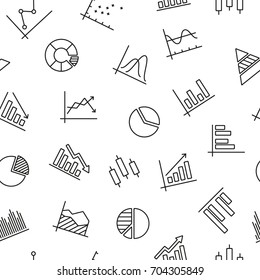 Seamless pattern with graphs and diagrams, black and white icons