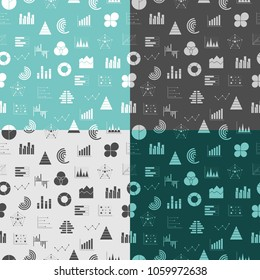 Seamless pattern with graphs and diagrams. Business data graphs icons. Financial and marketing charts. Business infographic. Flat icons set vector illustrtaion