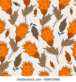 Seamless pattern grass and leaves on a Light grayish orange background. For printing on packaging, bags, cups, laptop, furniture, etc. Vector.